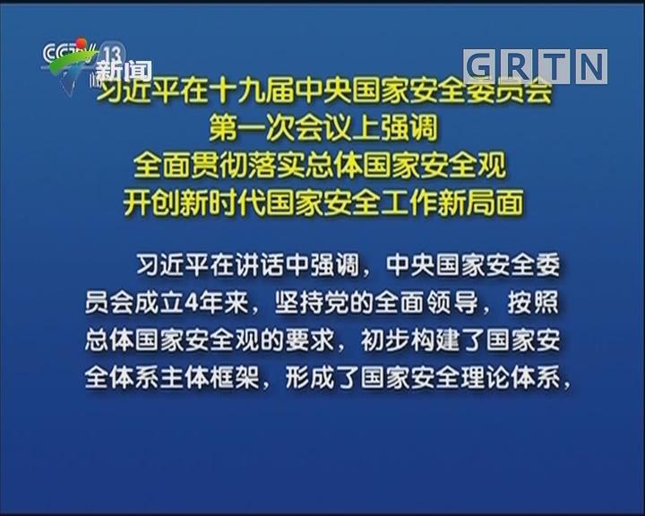 习近平在十九届中央国家安全委员会第一次会议上强调 全面贯彻落实总体国家安全观 开创新时代国家安全工作新局面
