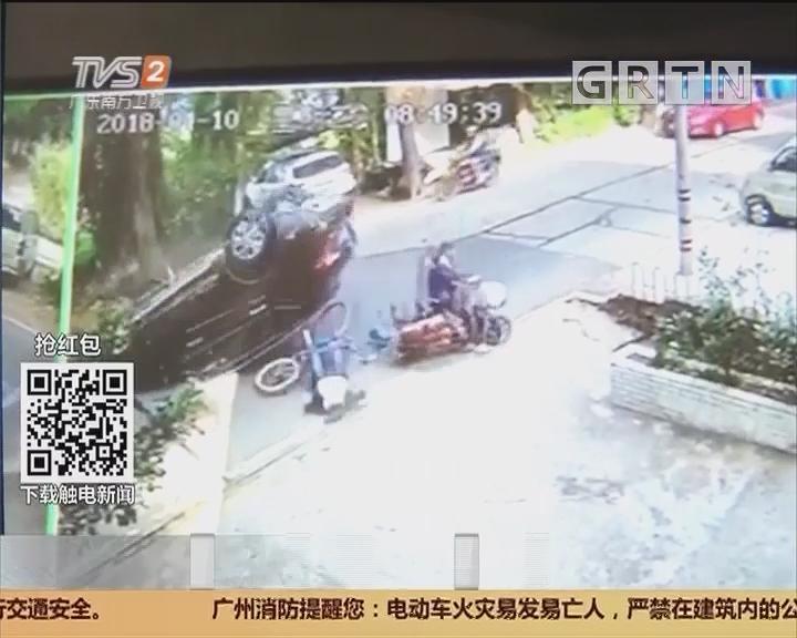 顺德均安:越野车撞单车 越野车翻了?