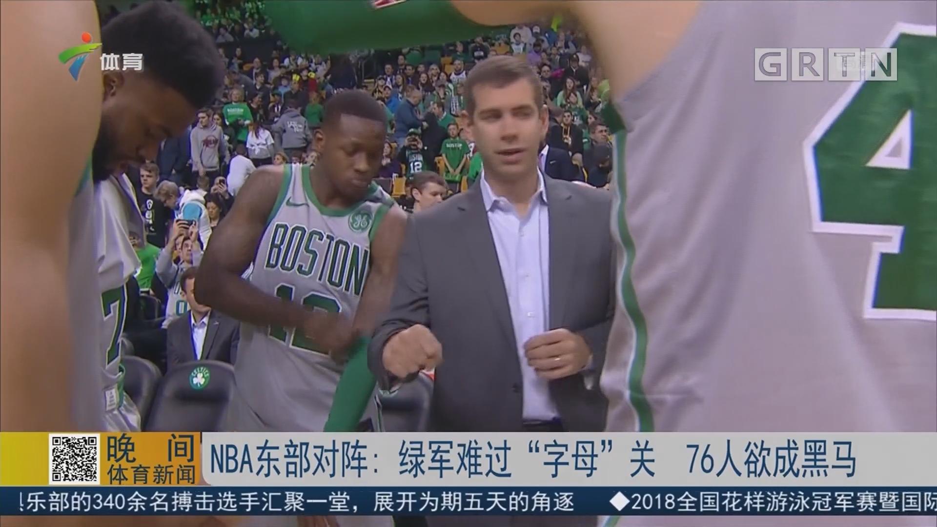 "NBA东部对阵:绿军难过""字母""关 76人欲成黑马"
