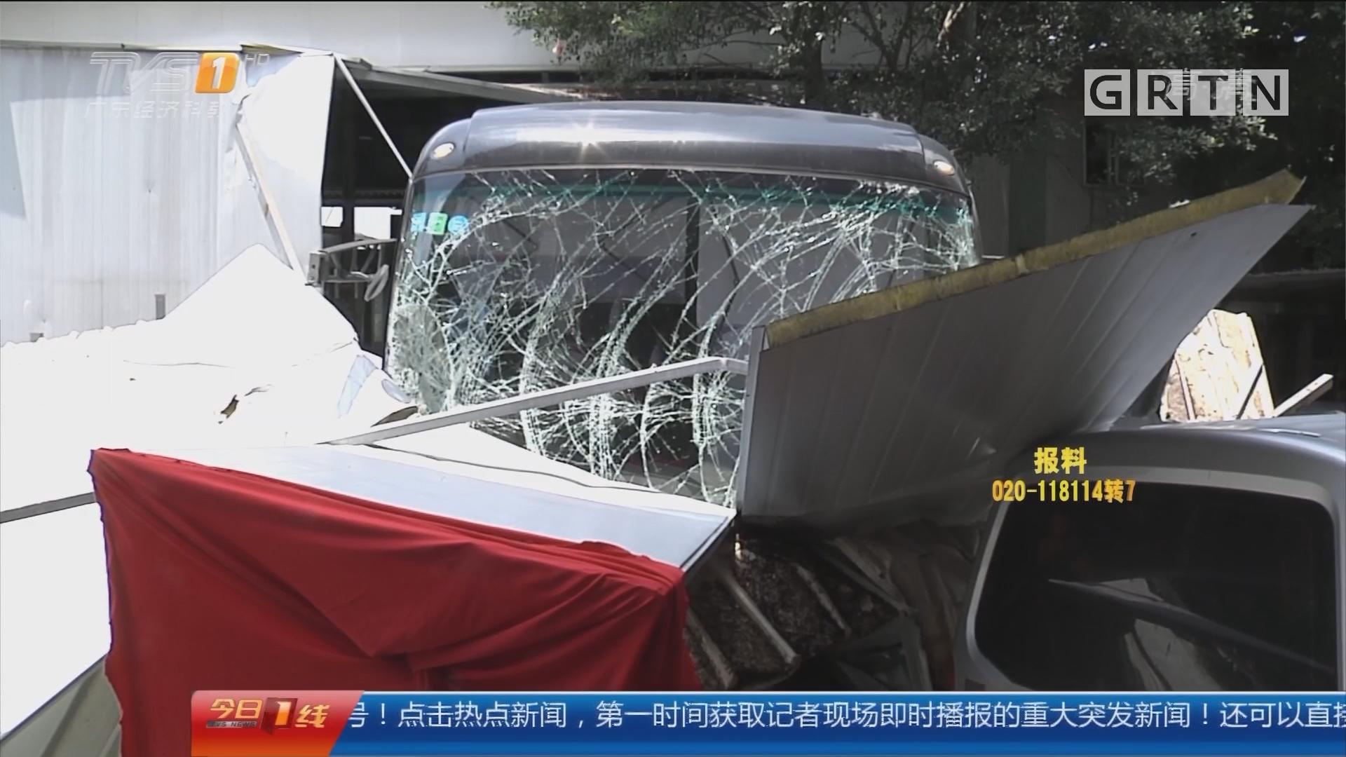 驾驶安全提醒:惊魂!大巴撞穿检测站围墙冲上街头