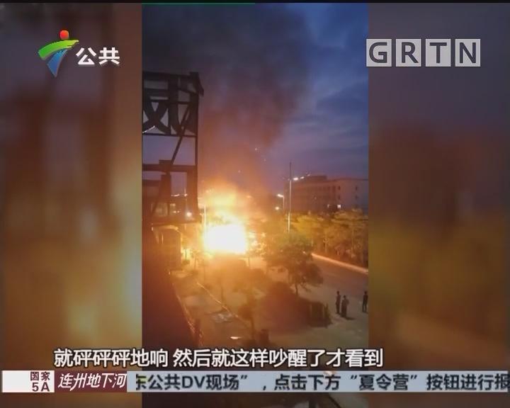 惠州:大货车行驶途中翻侧 20分钟后燃起大火