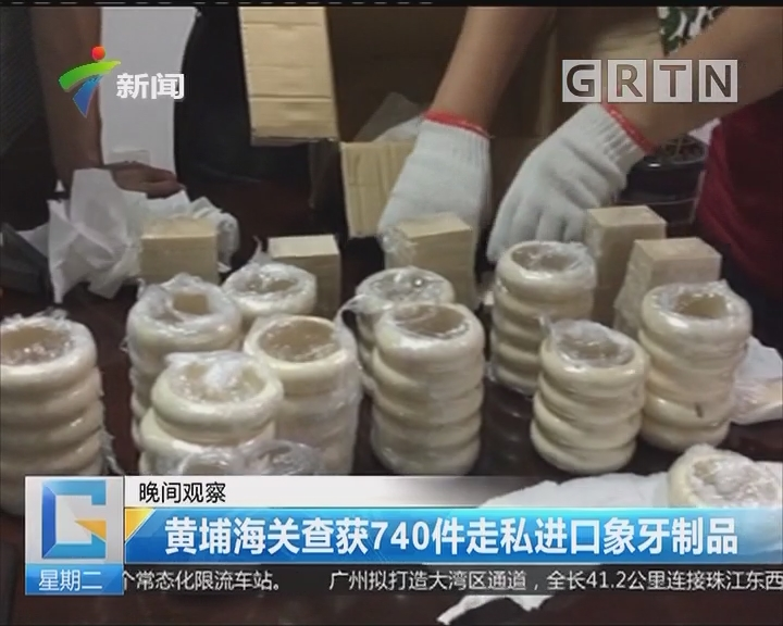 黄埔海关查获740件走私进口象牙制品
