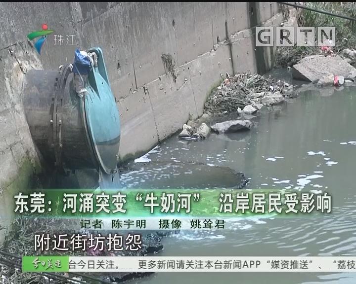 """东莞:河涌突变""""牛奶河"""" 沿岸居民受影响"""