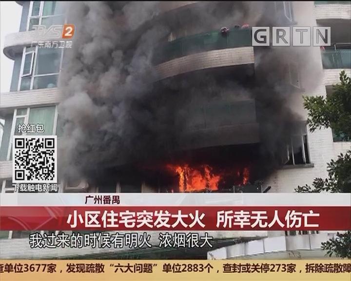 广州番禺:小区住宅突发大火 所幸无人伤亡