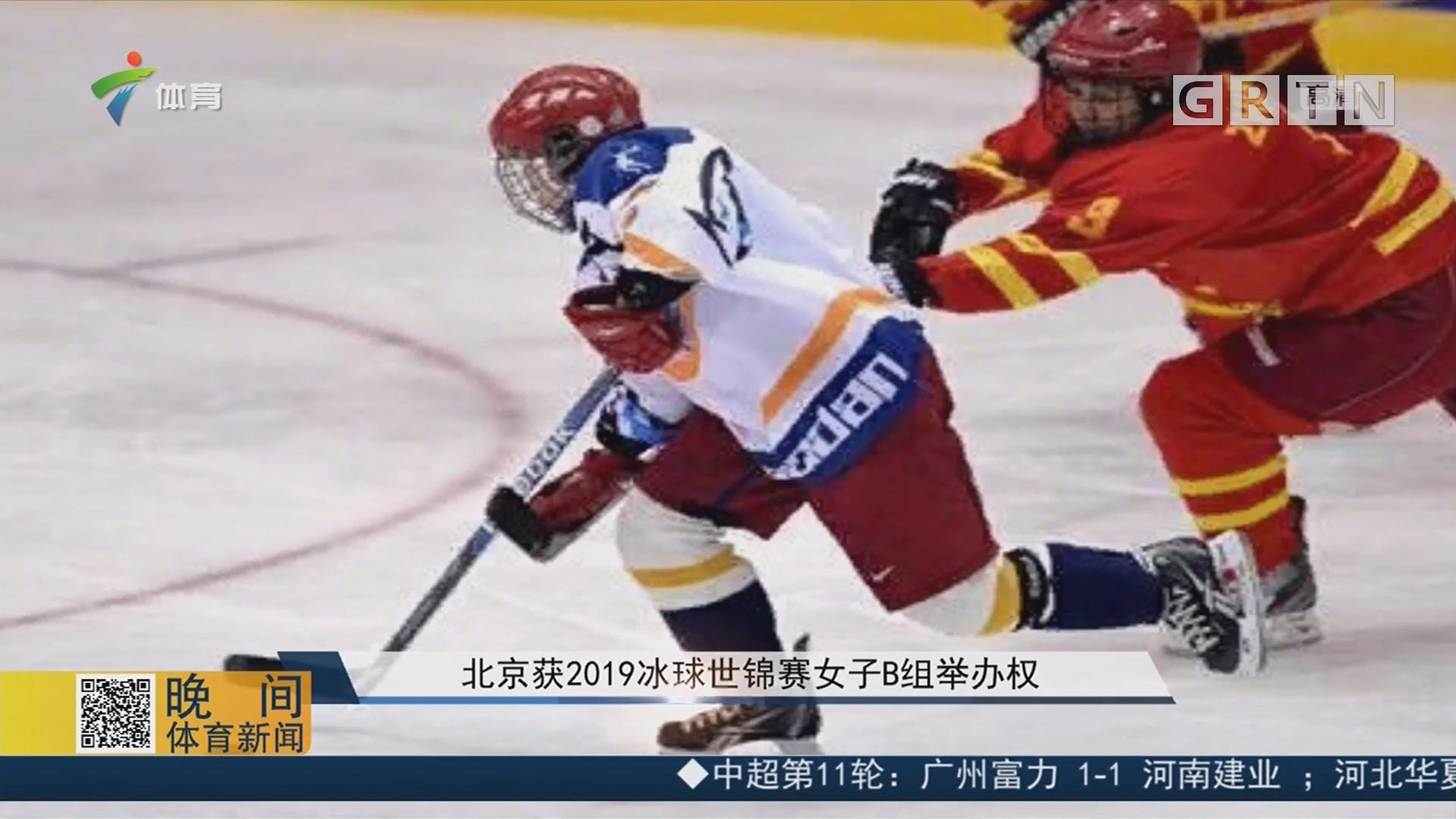 北京获2019冰球世锦赛女子B组举办权