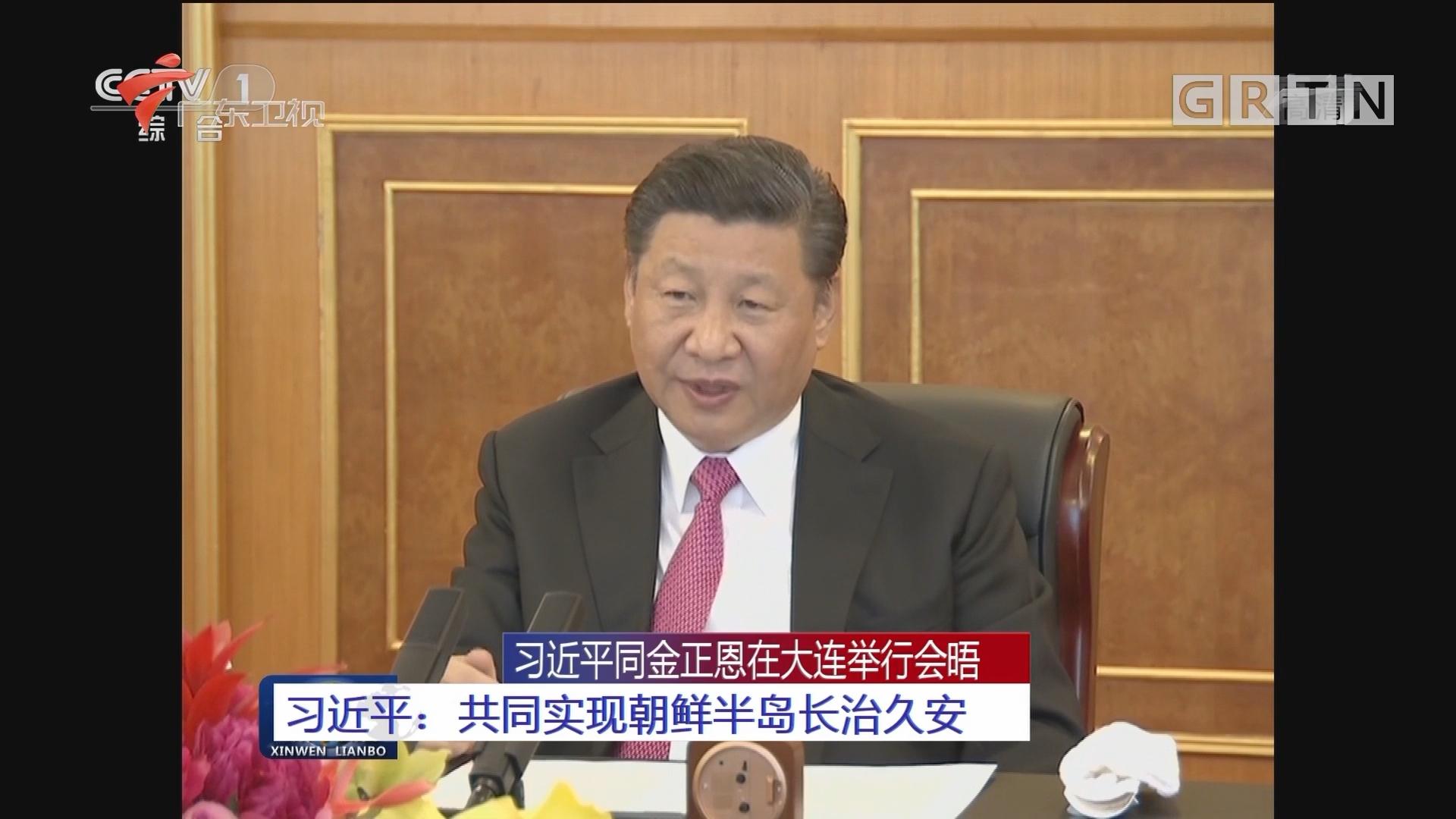 习近平同金正恩在大连举行会晤 习近平:共同实现朝鲜半岛长治久安