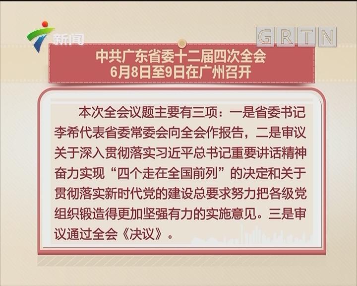 中共广东省委十二届四次全会 6月8日至9日在广州召开