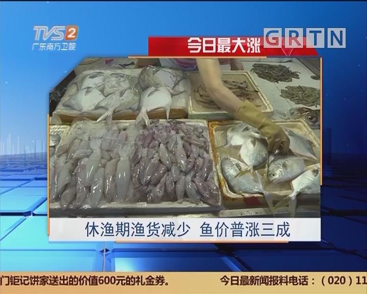 今日最大涨:休渔期渔货减少 鱼价普涨三成