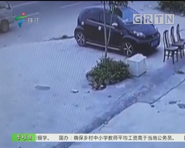 """汕头:逆行无牌小货车 """"拖行""""交警两百米"""