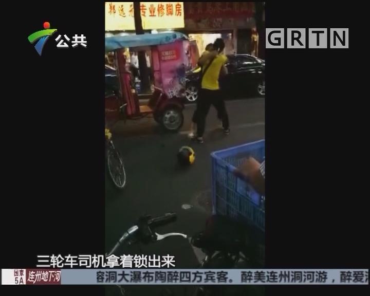 广州:外卖与拉客仔当街打斗 街坊好心上前劝架