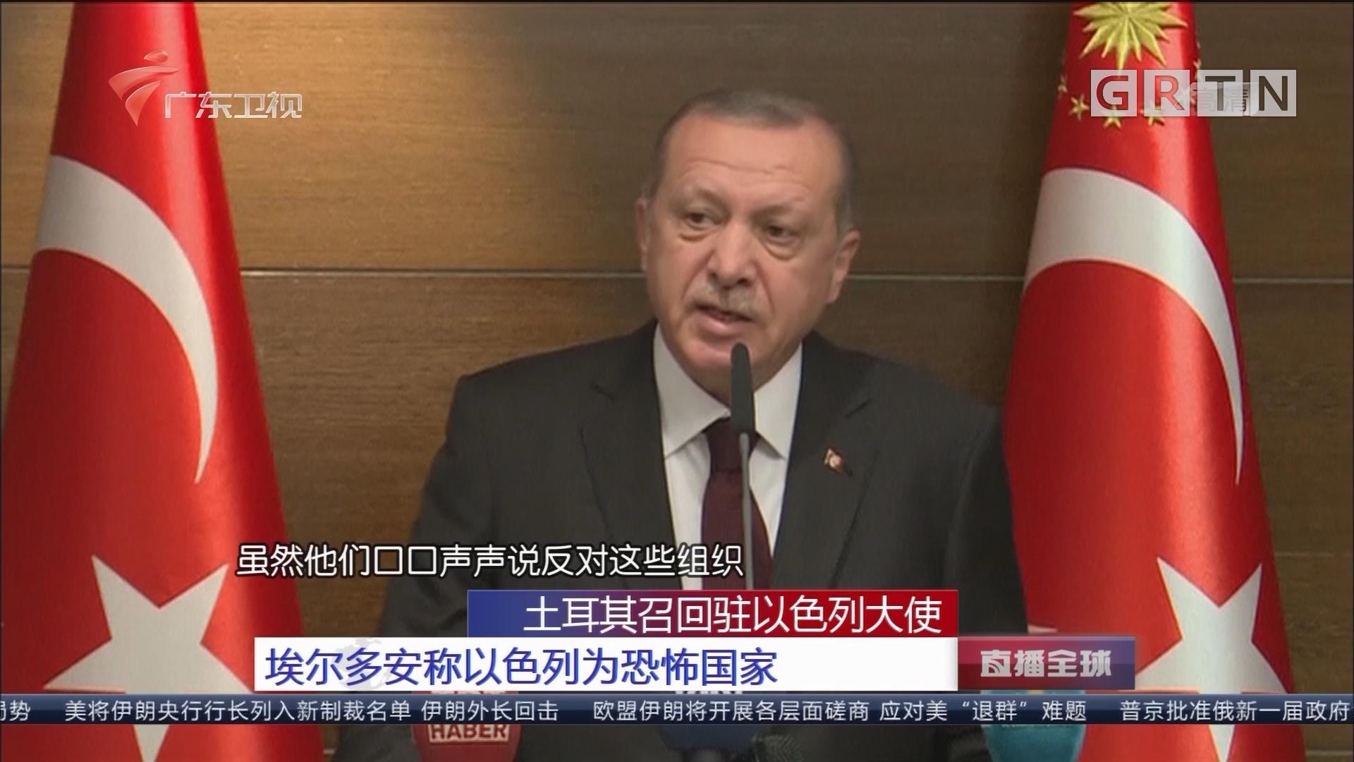 土耳其召回驻以色列大使 埃尔多安称以色列为恐怖国家