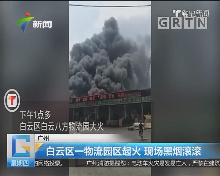 广州:白云区一物流园区起火 现场黑烟滚滚