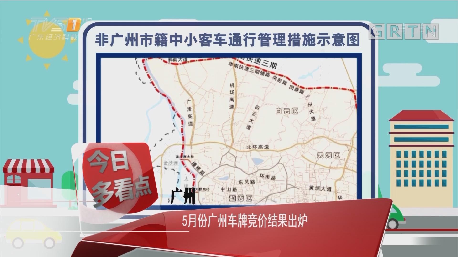 广州:5月份广州车牌竞价结果出炉