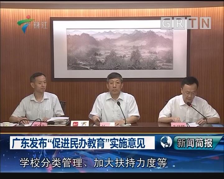 """广东发布""""促进民办教育""""实施意见"""