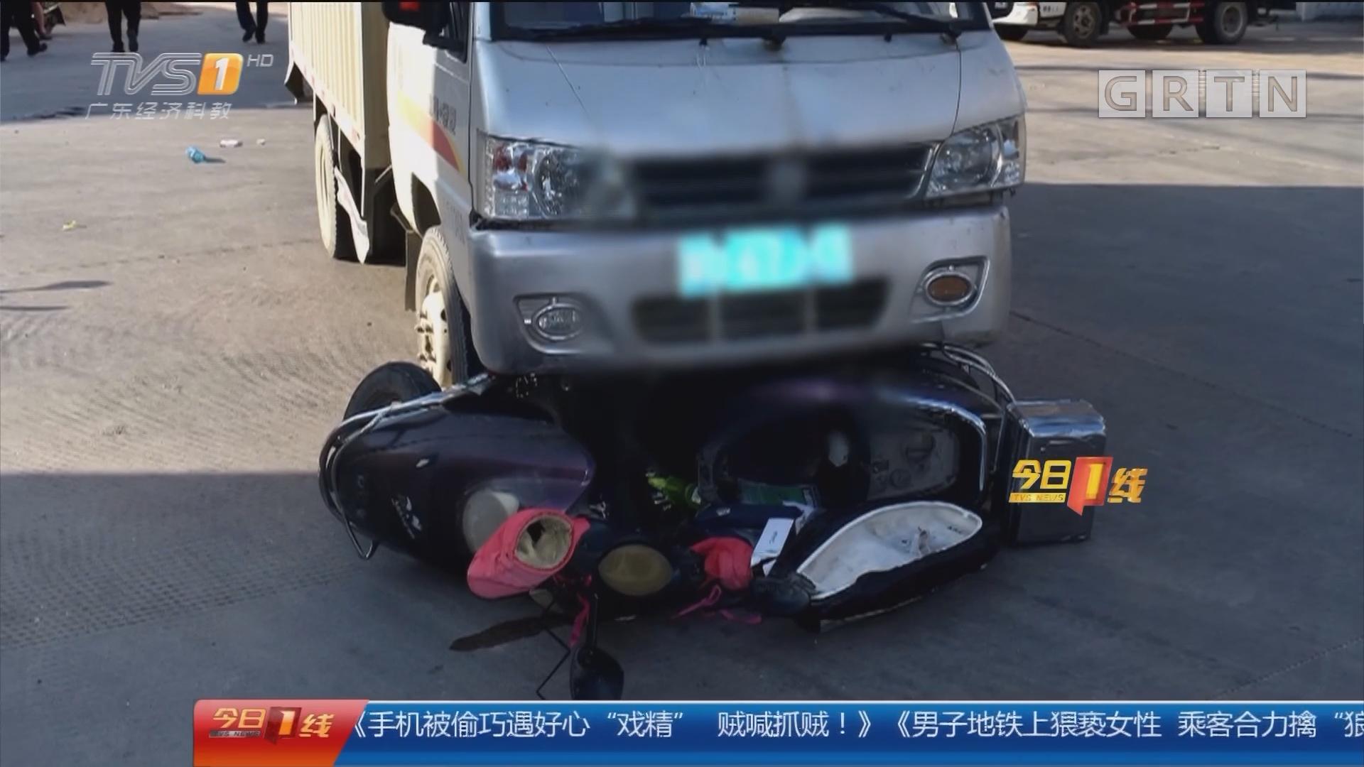 关注交通安全:汕头潮南 母亲骑车载俩娃 放学途中被货车撞飞