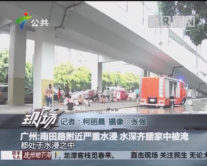 广州:南田路附近严重水浸 水深齐腰家中被淹