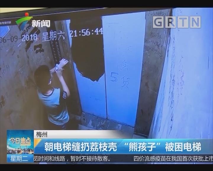 """梅州:朝电梯缝扔荔枝壳 """"熊孩子""""被困电梯"""