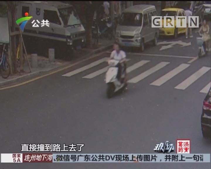 深圳:两学生骑摩托车 高速转弯撞上绿化树