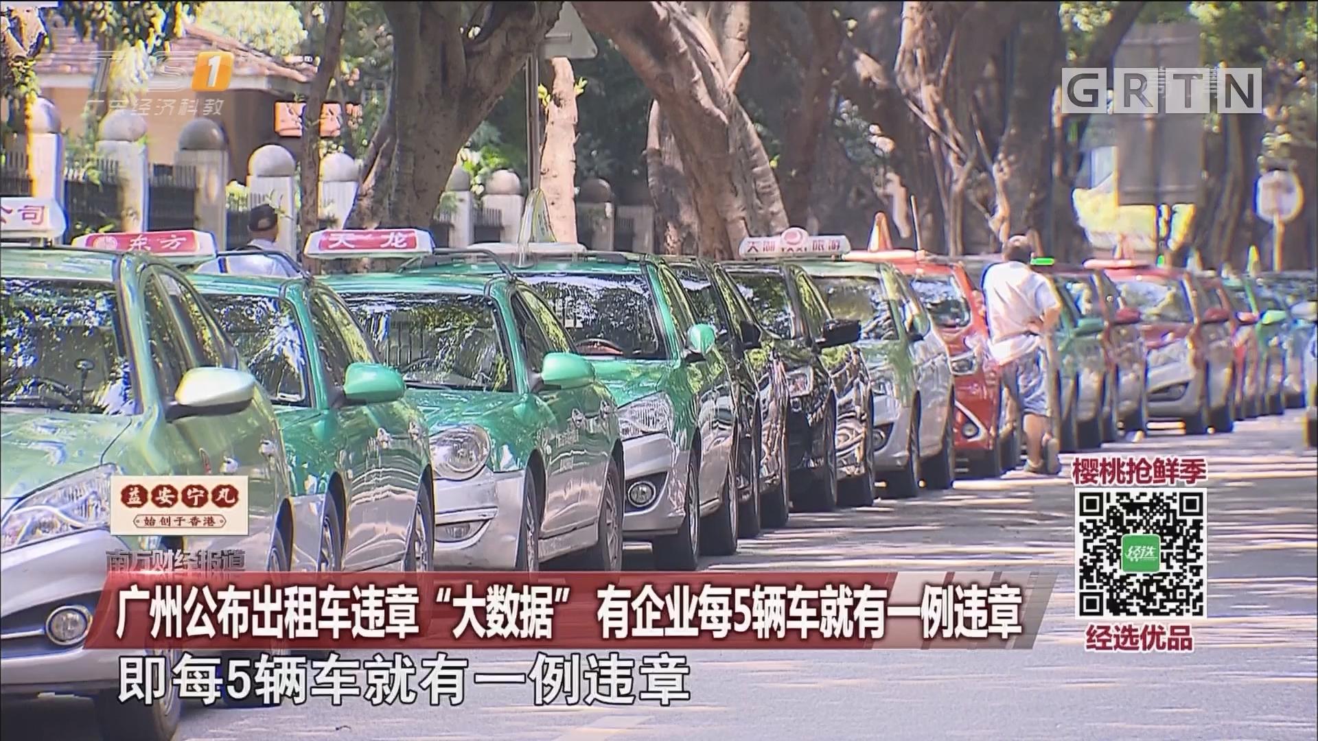 """广州公布出租车违章""""大数据"""" 有企业每5辆车就有一例违章"""