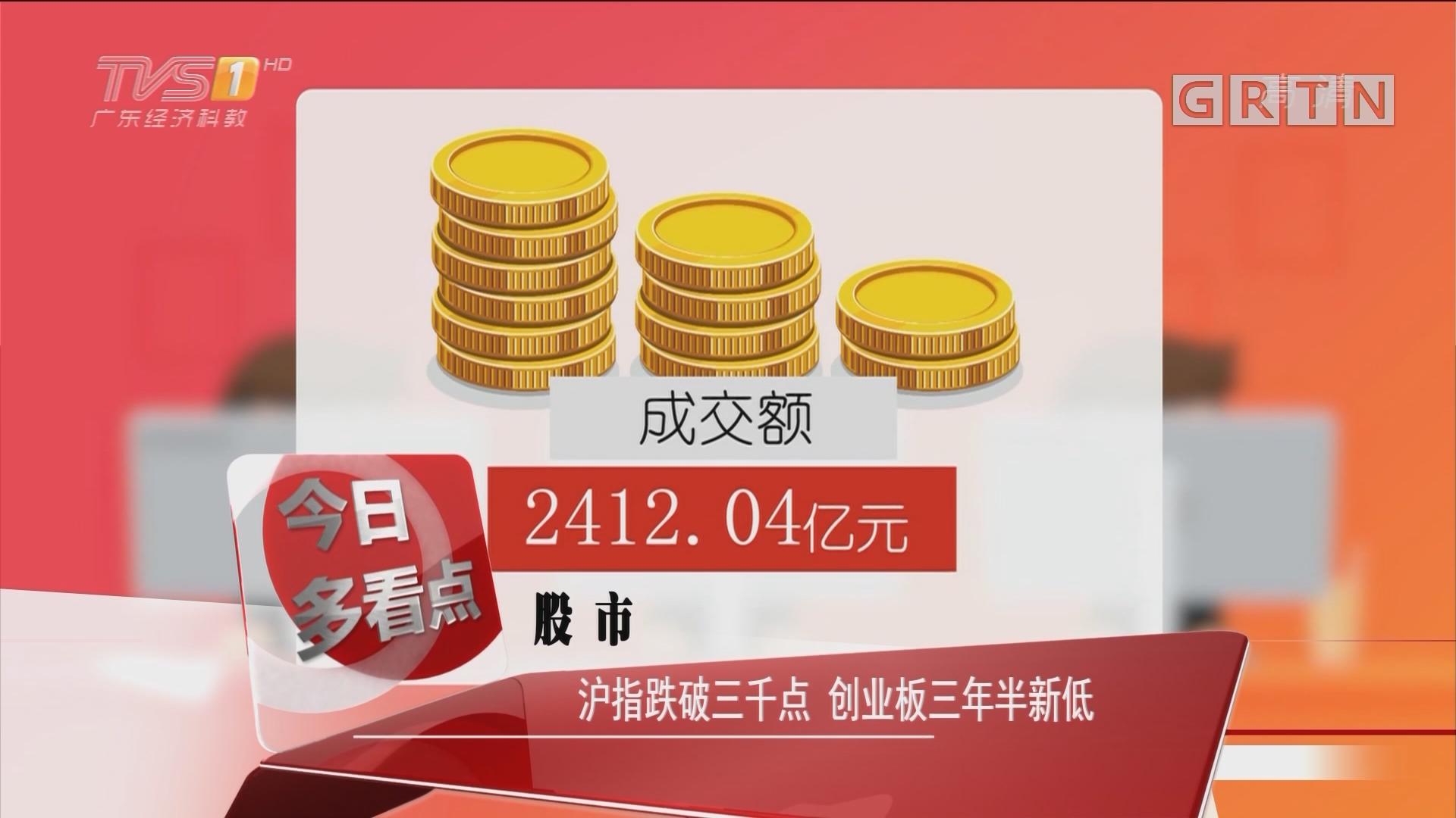 股市:沪指跌破三千点 创业板三年半新低
