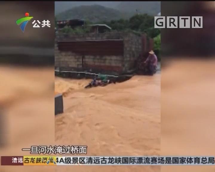 东莞:果农暴雨中过河被冲走 众人极速营救