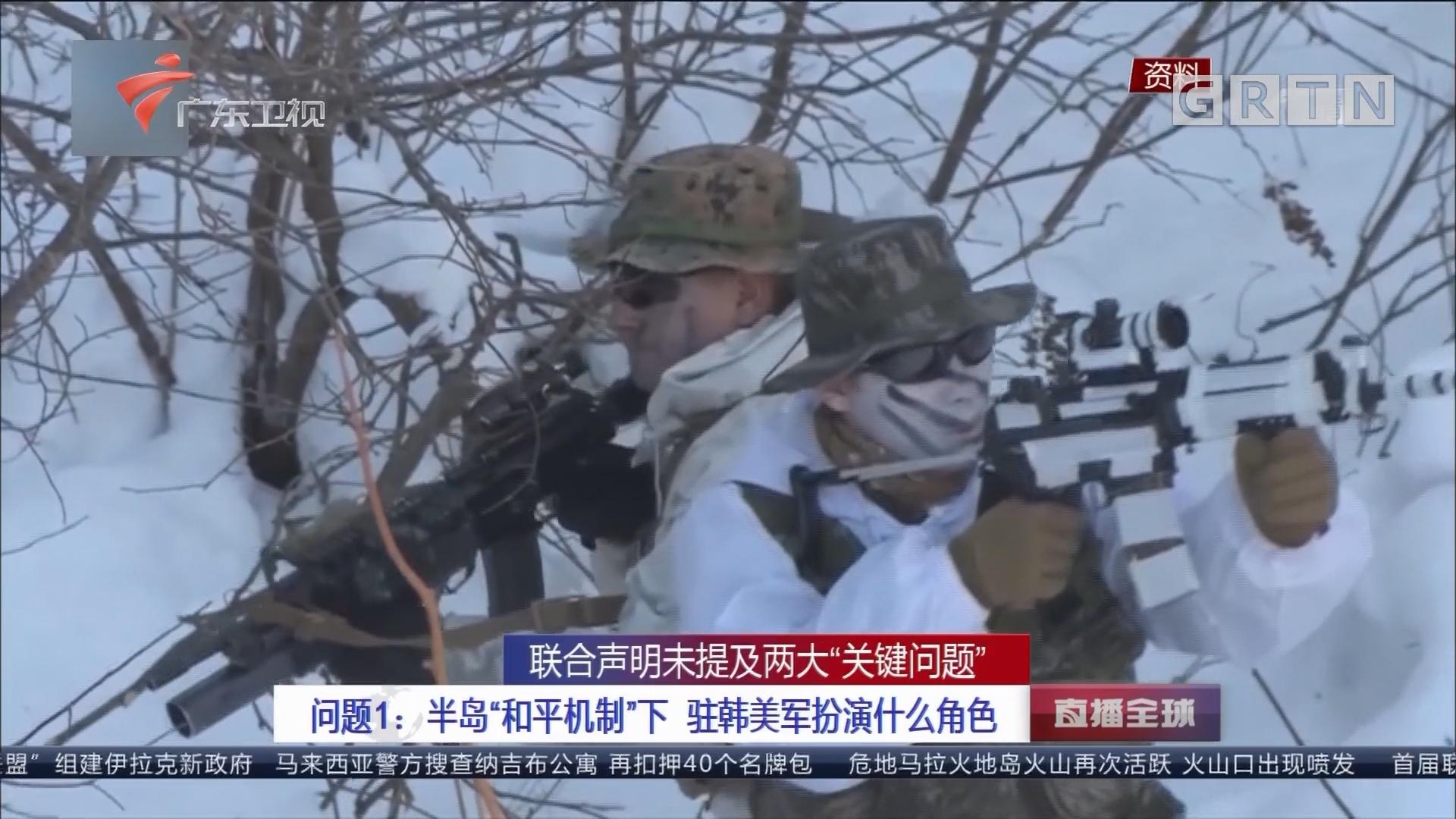 """联合声明未提及两大""""关键问题"""" 问题1:半岛""""和平机制""""下 驻韩美军扮演什么角色"""