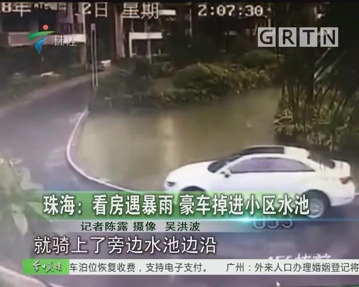 珠海:看房遇暴雨 豪车掉进小区水池