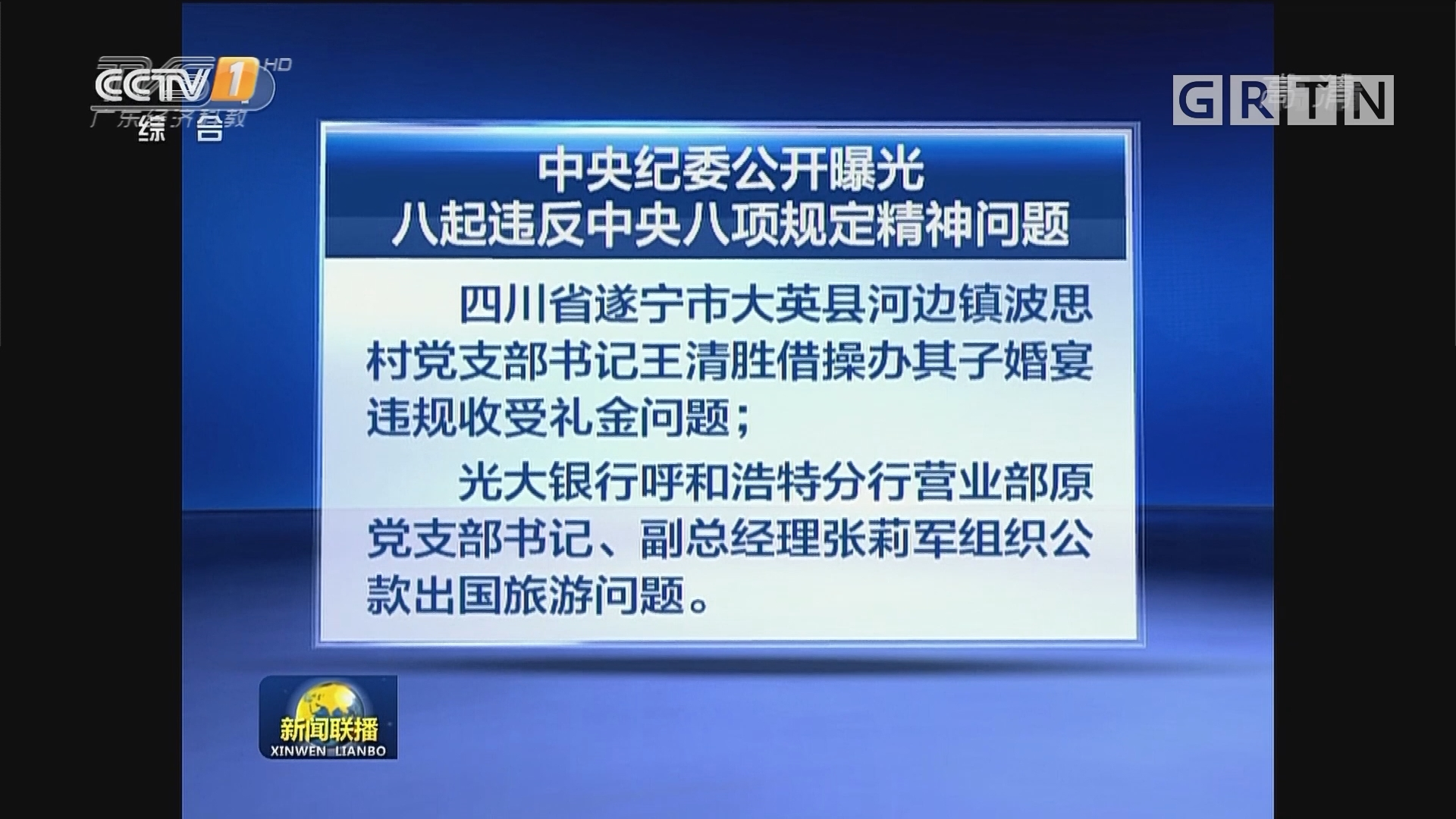 中央纪委公开曝光八起违反中央八项规定精神问题