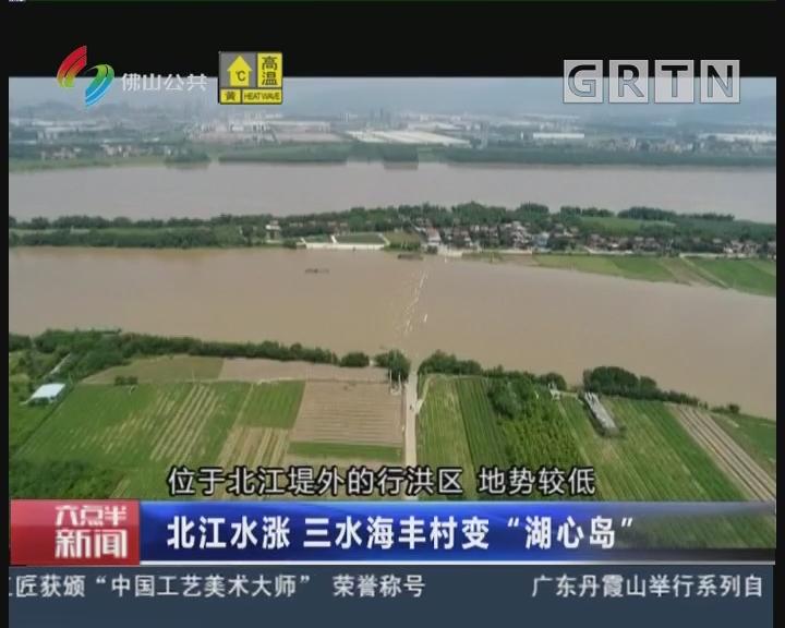 """佛山:北江水涨三水海丰村变""""湖心岛"""""""
