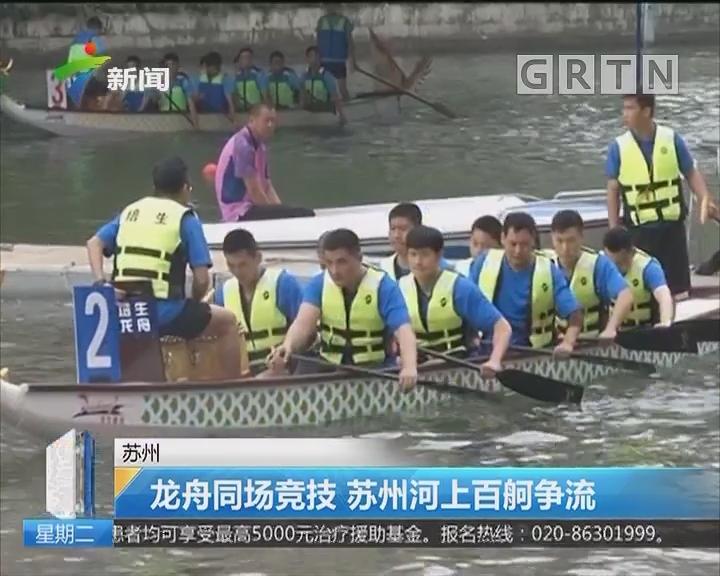 苏州:龙舟同场竞技 苏州河上百舸争流