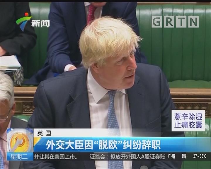 """英国:外交大臣因""""脱欧""""纠纷辞职"""