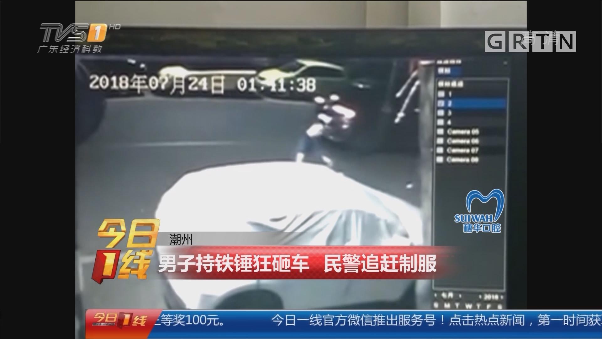 潮州:男子持铁锤狂砸车 民警追赶制服