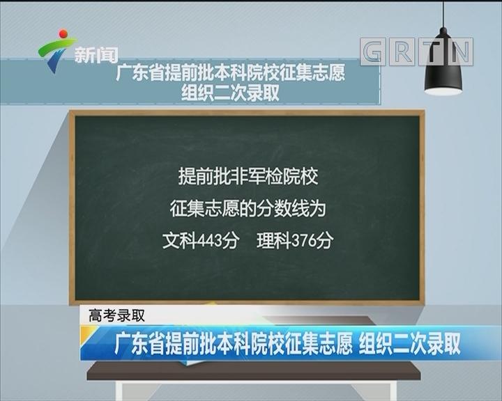 高考录取:广东省提前批本科院校征集志愿 组织二次录取