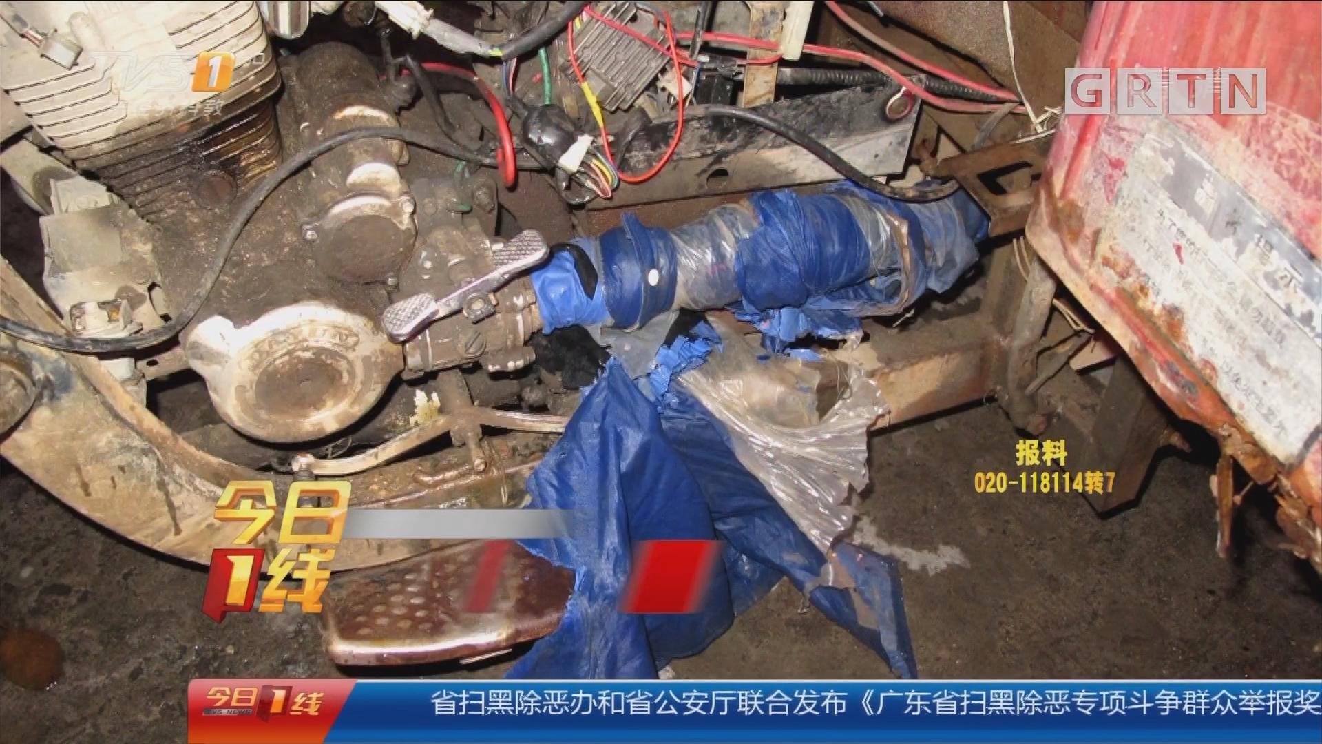 中山港口:男子雨天骑摩托 雨衣卷入车轮被勒身亡