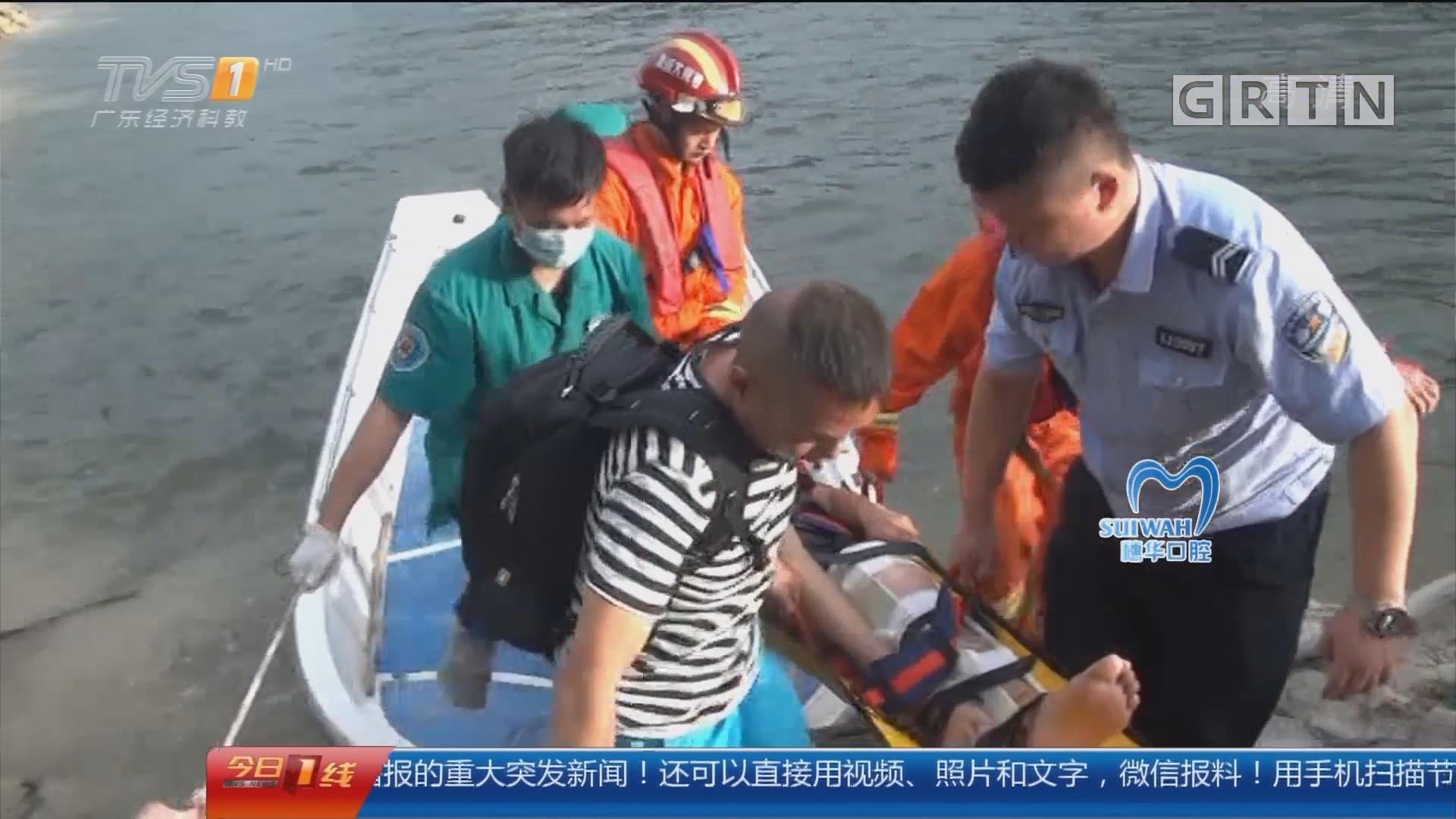 惠州:户外徒步摔下山 消防医护海陆救援