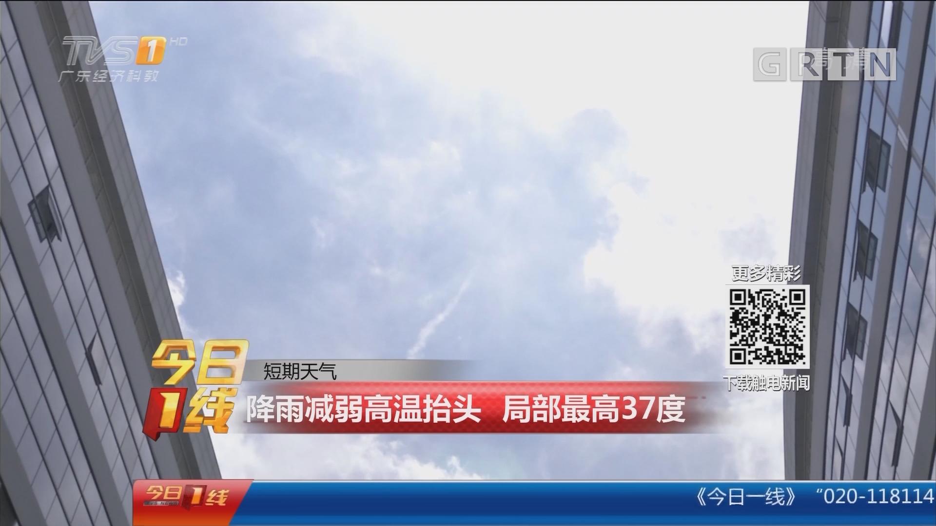 短期天气:降雨减弱高温抬头 局部最高37度