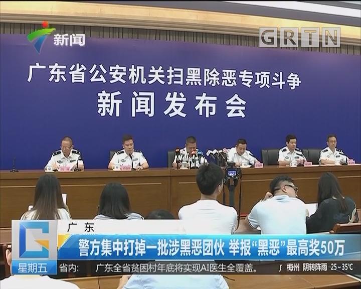 """广东:警方集中打掉一批涉黑恶团伙 举报""""黑恶""""最高奖50万"""