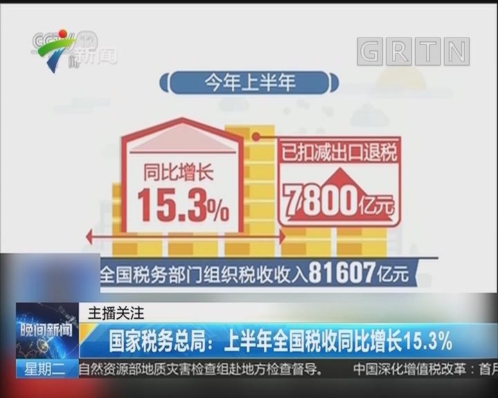 国家税务总局:上半年全国税收同比增长15.3%