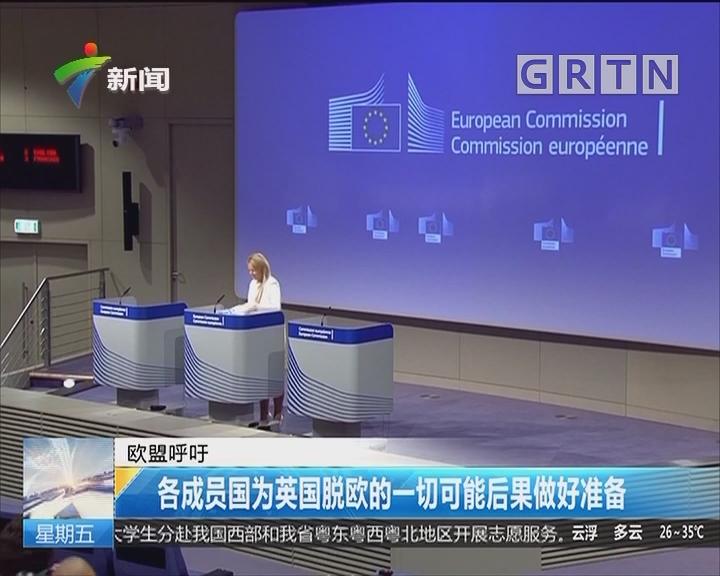 欧盟呼吁:各成员国为英国脱欧的一切可能后果做好准备