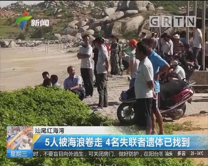 汕尾红海湾:5人被海浪卷走 4名失联者遗体已找到