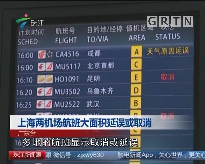 上海两机场航班大面积延误或取消