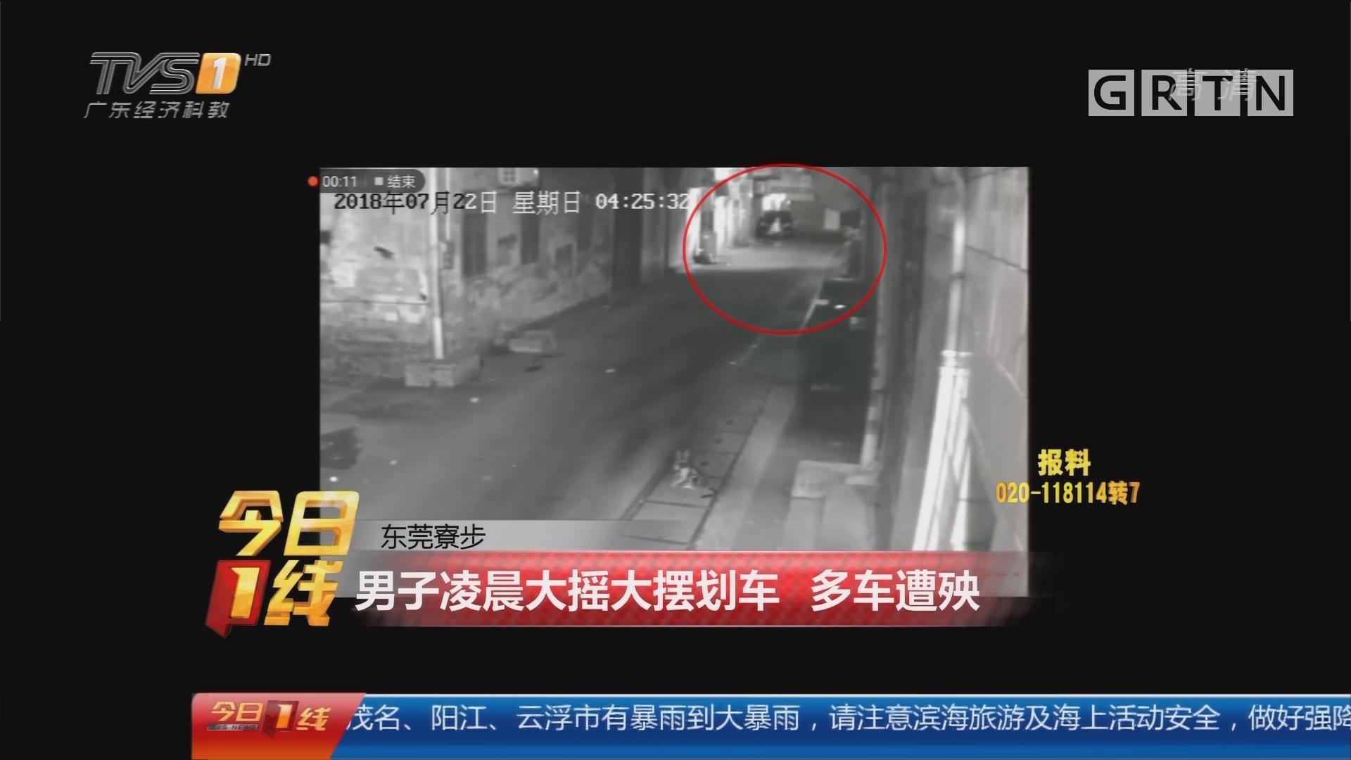 东莞寮步:男子凌晨大摇大摆划车 多车遭殃