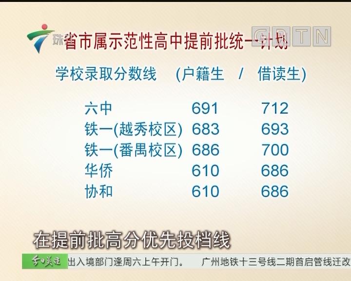 广州中考普高提前批开录 执信中学爆冷跌出前十