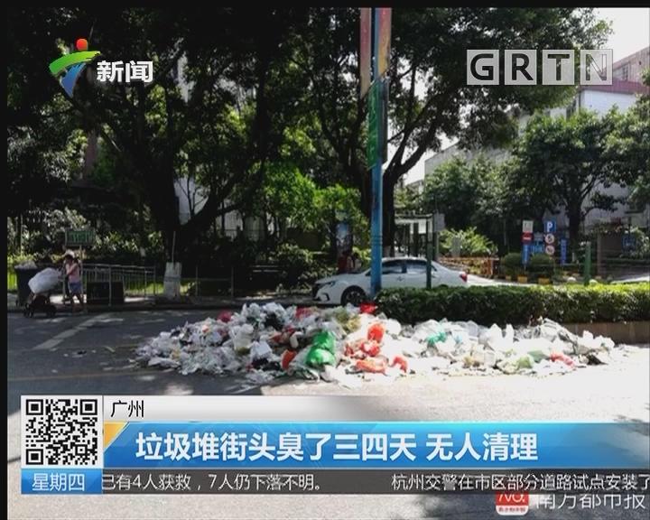 广州:垃圾堆街头臭了三四天 无人清理