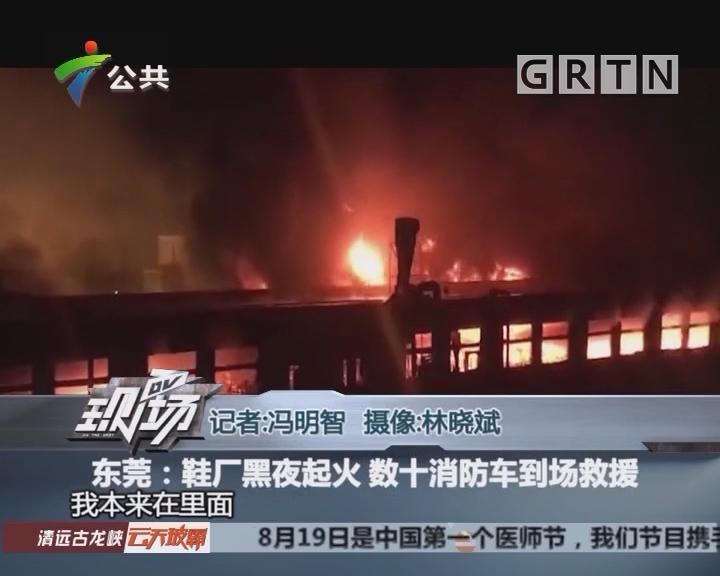 东莞:鞋厂黑夜起火 数十消防车到场救援