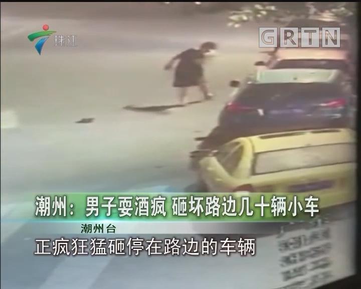 潮州:男子耍酒疯 砸坏路边几十辆小车