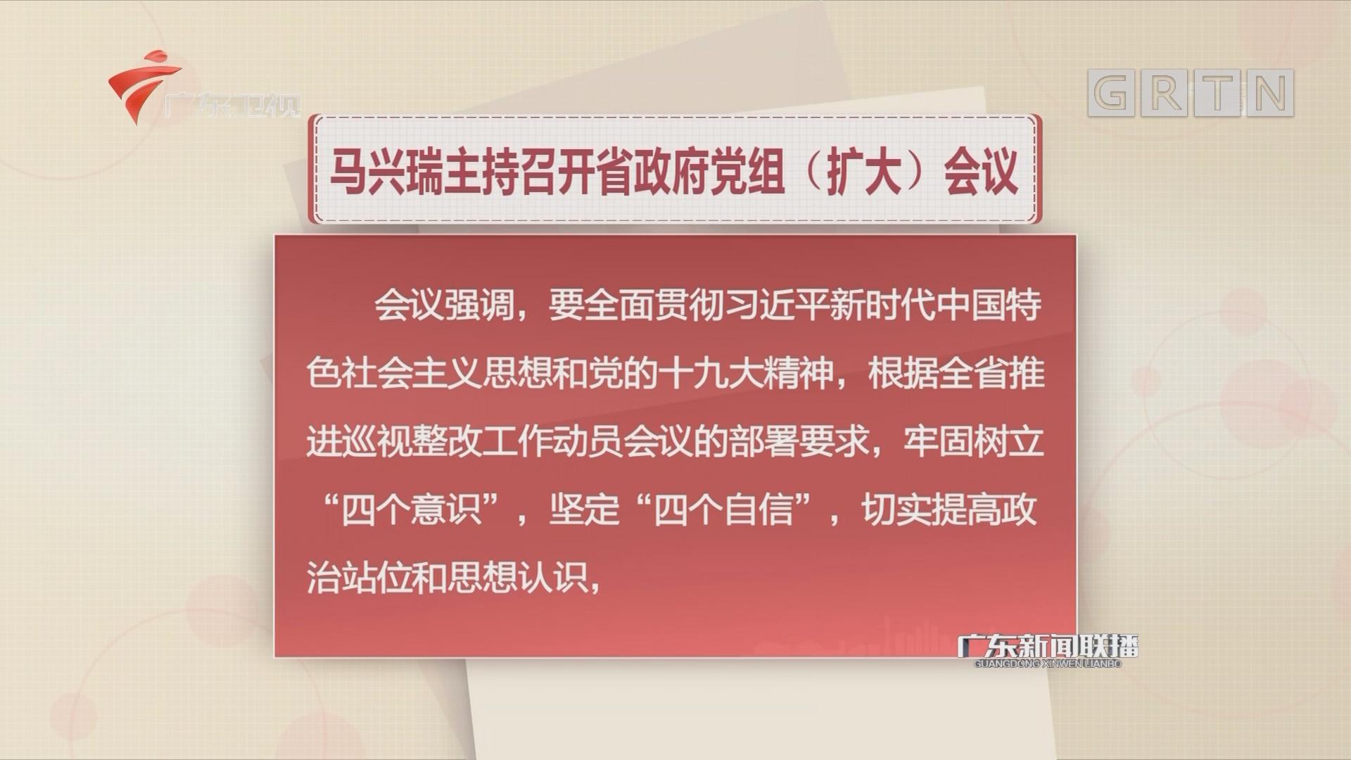 马兴瑞主持召开省政府党组(扩大)会议