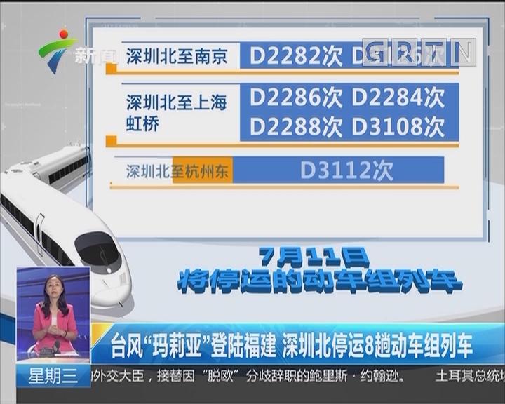 """台风""""玛莉亚""""登陆福建 深圳北停运8趟动车组列车"""