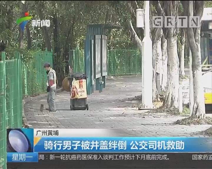 广州黄埔:骑行男子被井盖绊倒 公交司机救助