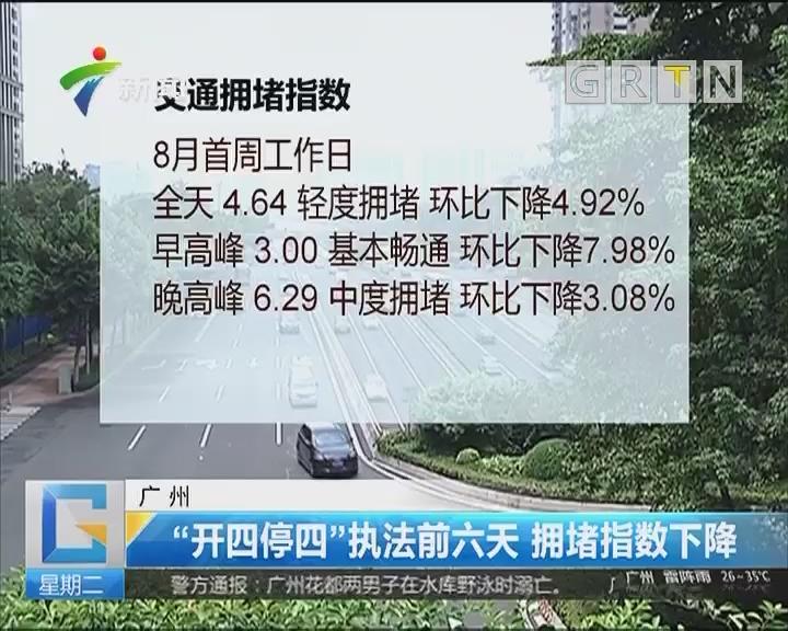 """广州:""""开四停四""""执法前六天 拥堵指数下降"""